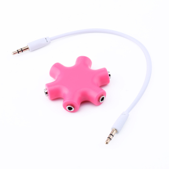 Harga 3.5mm Earphone Headphone Audio Splitter 6 Female Audio Ports (Rose)