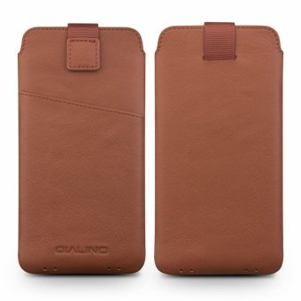 Harga QIALINO Genuine Leather Universal Pouch Cover for Samsung Galaxy C7 Pro, Size: 158 x 80mm - Brown - intl