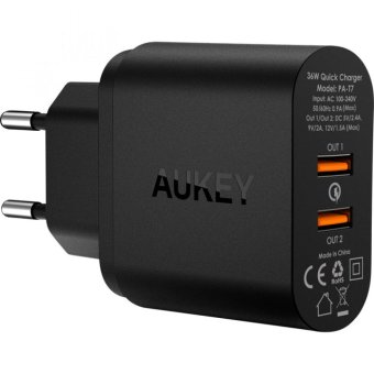 Harga AUKEY, PA-T7 36W Dual Port Wall Charger with Quick Charge 2.0