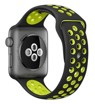 Harga top4cus Original 1:1 Series 2 Silicone Sand for Apple Nike+ iwatch Replacement Soft Sport Band for Apple Watch iwatch--Black/Volt - Small/Medium - 42MM