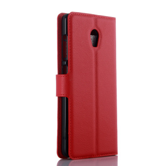 Harga Litchi Skin Leather Wallet Cover for Lenovo Vibe P1 (Red)