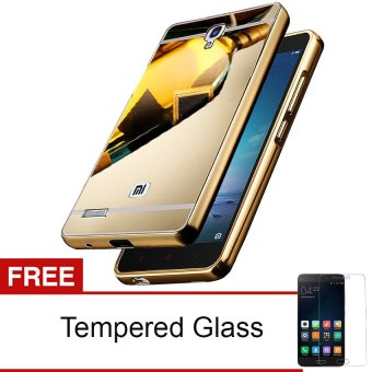 Case For Xiaomi Redmi Note 1 Bumper Slide Mirror - Gold + Free Tempered Glass