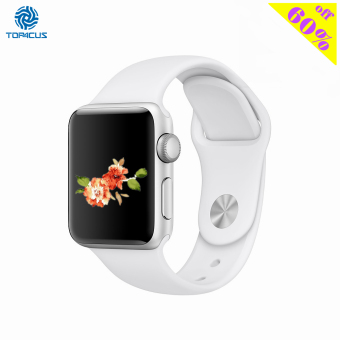 Harga top4cus Silicone Replacement Sport Strap Watch Band for Apple Watch iwatch Series 1 and 2 - 38mm - Small/Medium - White - intl
