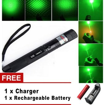 Harga Top Laser 303 10000mw Green Laser Pointer Adjustable Focal Length With Star Pattern Filter - intl