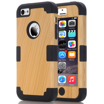 Harga TKOOFN Wood Colorful Shockproof Heavy Duty Case Cover For iPhone 5C(Black)