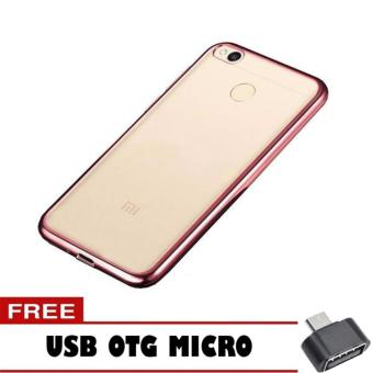 Softcase Ultrathin Shining List Chrome Jelly For Xiaomi Redmi 4X Aircase Rose Gold Free