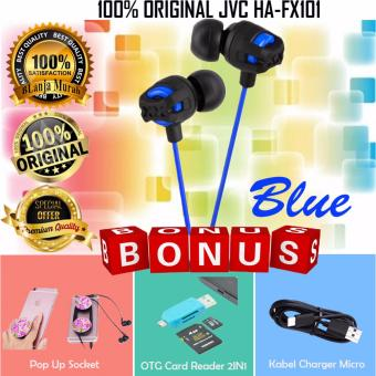 Harga 100% Original JVC HA-FX101 XX Xtreme Xplosives Deep Bass In-ear earphones - Gratis Pop Socket Phone Grip + OTG Card Reader 2 IN 1 & Kabel Charger Micro