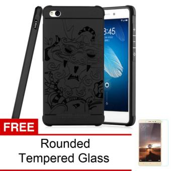 Harga Original Dragon Shockproof Hybrid Case for Xiaomi Redmi 3 - Hitam + Gratis Rounded Tempered Glass