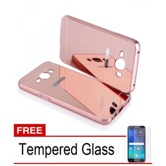 Case For Samsung Galaxy J1 2016 Bumper Slide Mirror - Rose Gold + Free Tempered Glass