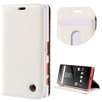 Harga CASEME Oil Wax Crazy Horse Leather Wallet Cover for Sony Xperia Z5 Compact - White