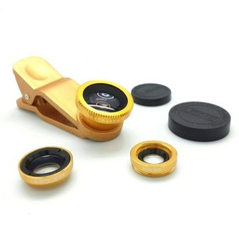 Harga Lieqi Fisheye 3in1 Lens For Universal Smartphone Fisheye, Wide,Macro - Gold