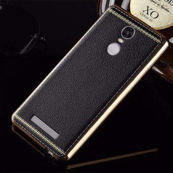 Flexiable Leather Case Plating Bumper Back Cover for Xiaomi Redmi Note 3 / Redmi Note 3