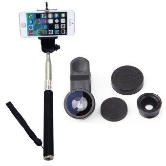 Jual Tongsis Monopod z01-1 - Hitam + Lens Clip Fisheye 3in1 - Hitam murah