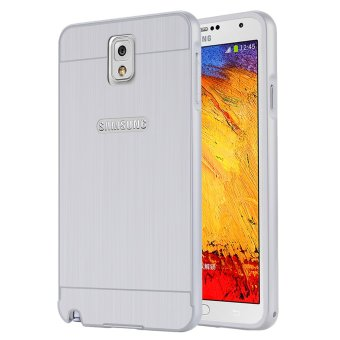 Casing Aluminium Bumper Brushed Metal for Samsung Galaxy Note3 - Silver