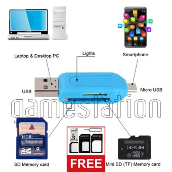 Harga GStation OTG Card Reader for SDHC Micro SD 2 in 1 + Nossy Sim Card Adapter 3 in 1
