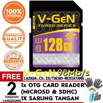 Harga Original V-Gen SD Card 128GB SDXC Class 10 Turbo Series Free OTG Card Reader Micro SD / SDHC + Sarung Tangan Anti Panas