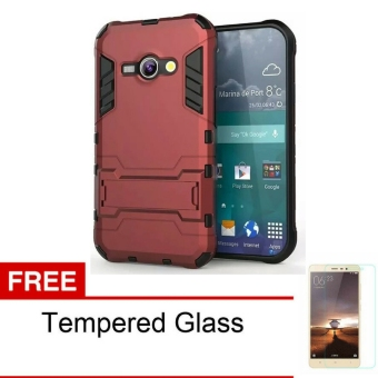Case TPU + PC Phone Case for Samsung Galaxy J1 ACE - Red + GRATIS Tempered