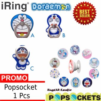 Harga Lucky - iRing Model Doraemon 1 Pcs + Gratis iRing Popsocket Anti Drop Phone Grip Karakter