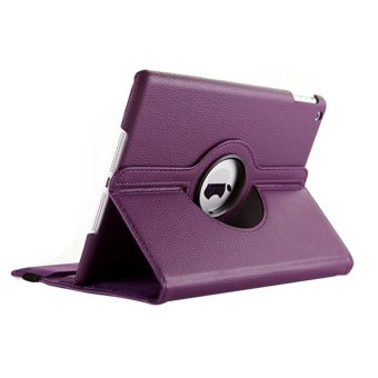 Harga 4-in-1 360-degree Rotating Stand PU Flip Case & Screen Guard & Stylus Pen & Cloth Set for iPad Air /iPad 5 Purple