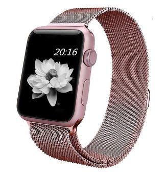 Harga top4cus Milanese Magnetic Loop Stainless Steel Strap Watch Bands For Apple iWatch Series 1 and 2 -- 42MM(Rose Gold)