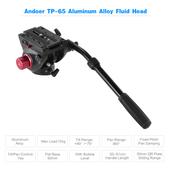 Harga Andoer TP-65 Aluminum Alloy Fluid Drag Head Hydraulic Head Three-dimensional Tripod Head 360? Panoramic Shooting for Photography and Video Recording Max Load Capacity 15kg Outdoorfree
