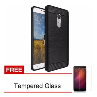 Harga iCase Rubber Armor Carbon Fiber TPU Soft Silicone Anti-knock Back Case For Xiaomi Redmi Note 4 Cover Case - Hitam + Free Tempered Glass