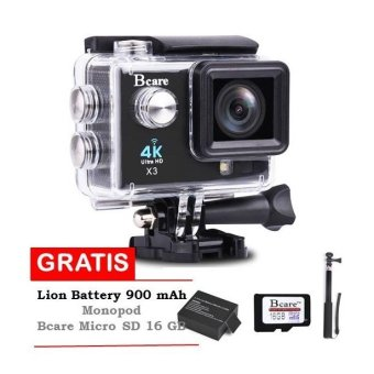 Harga Bcare Action Cam X-3 WiFi with LED lamp-16MP -Sony Sensor - Hitam + Bcare SD Card 16GB Class 10 + Monopod + Li-ion Battery 900 mAh