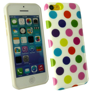 Harga Leegoal White with Rainbow Polka Dots TPU Case Cover for iPhone 5C - intl