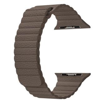 Harga top4cus 38mm Leather Loop with Adjustable Magnetic Closure For iWatch Band Replacement Bracelet Strap for Apple Watch 38mm Model Series 1 and Series 2 - Brown - intl