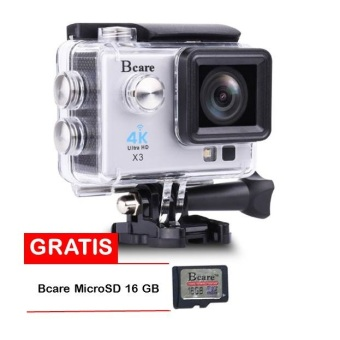 Harga Bcare Action Camera - B-Cam X-3 WiFi - Ultra 4K - 16MP - Silver + Gratis Bcare SD Card 16 GB