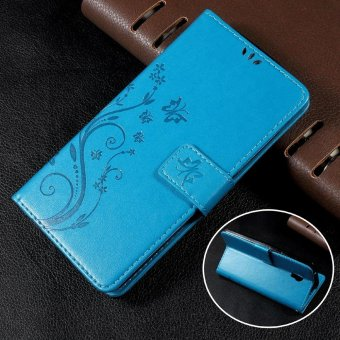 Harga Wallet Leather Case with Imprinted Butterfly Flower for Lenovo Vibe P1 / P1 Turbo - Blue - intl