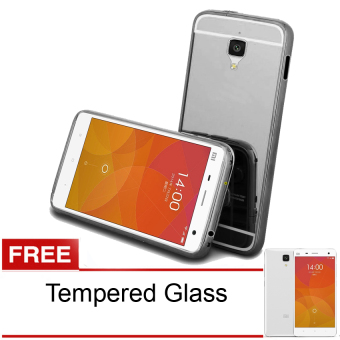 Case untuk xiaomi Mi4 Bumper Chrome With Backcase Mirror - Hitam + Gratis Tempered Glass