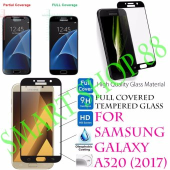 Harga Smart Full Cover Tempered Glass Warna for Samsung Galaxy A3 (2017) - Hitam