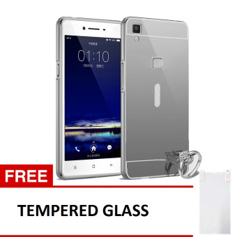 Harga Case For Vivo V3 Max Bumper Slide Mirror - Silver + Free Tempered Glass