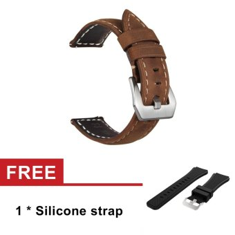 Harga Replacement Crazy Horse Soft Genuine Leather Strap for Samsung Galaxy Gear S3 Classic SM-R770 S3 Frontier SM-R760 SM-R765 Smart Watch Band - intl