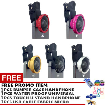 Harga Pokeshop - Universal Clip Lens 0.4x Super Wide Selfie Camera Lens - universal - Gratis USB micro cable + Touch u stand Hp + Waterproof universal smartphone + HandsFree mega bass