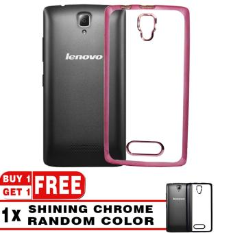 Softcase Silicon Jelly Case List Shining Chrome for Lenovo A1000 - Rose Gold + Free Softcase