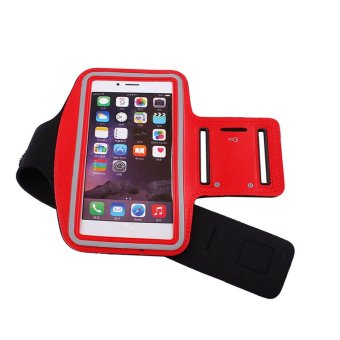 Harga 2016 High Quality Sport Phone Bags For iPhone Waterproof Armband Arm Band Case (Red)