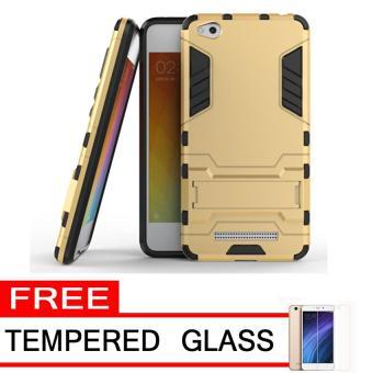 Case Xiaomi Redmi 4a Shield Armor Kickstand Avenger Series Gold Free Tempered Glass .