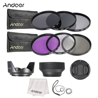 Harga Andoer 72mm Lens Filter Kit UV+CPL+FLD+ND(ND2 ND4 ND8) with Carry Pouch / Lens Cap / Lens Cap Holder / Tulip & Rubber Lens Hoods / Cleaning Cloth