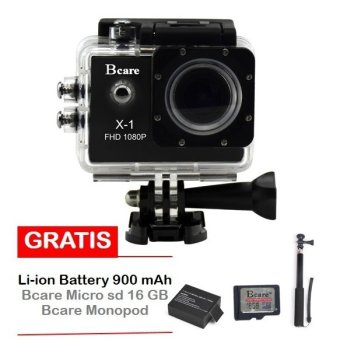 Harga Bcare X-1 Action Camera - 12 MP - Hitam + Gratis Micro SD 16 GB Class 10 + Monopod + Battery 900 mAh