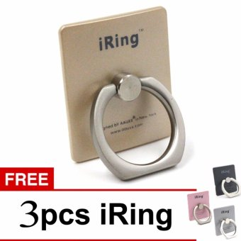 Harga iRing Stand Mobile Phone Holder 360 Degree Rotation With Hook Gold + Free 3 Pcs iRing
