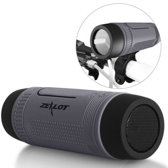 Harga ZEALOT S1 multi media Mini Speaker Bluetooth Portable Wireless Outdoor Waterproof dengan senter Radio FM slot kartu TF (kelabu) - ต่าง ประเทศ