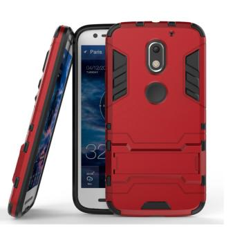 Harga iCase for Moto E3 Power Iron Man Rugged Slim Armor Case with KickStand - Merah