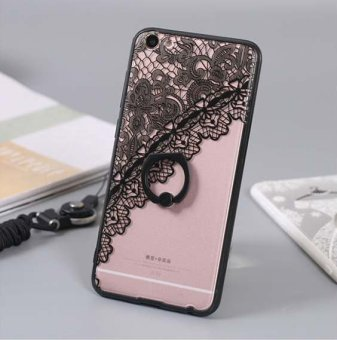 Harga OPPO f3 plus Lace Case, True Color Black Lace Pattern Printed on Clear Transparent Hybrid Cover Hard + Soft Slim Thin Durable Protective Shockproof TPU Bumper Cover(Black Flower) - intl