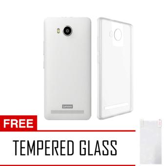 Softcase Ultrathin Lenovo A7700 Aircase Putih Transparant Tempered Glass .