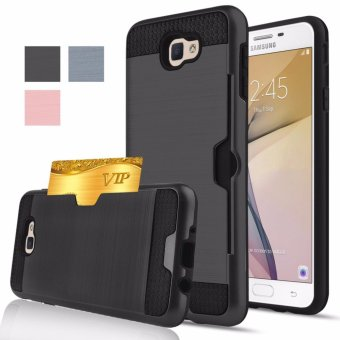 Harga Shockproof Armor Rubber Soft TPU + Hard PC Credit Card Slot Case for Samsung Galaxy A5 2017/A520(Black) - intl