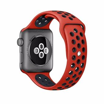 Wakaka Sport Band Nike Apple Watch 42mm - Merah/Hitam