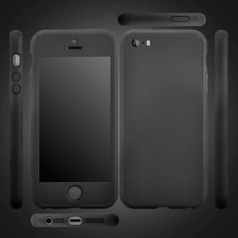 Jual Tubuh penuh perlindungan PC keras kasus penutup dengan kaca\ntempered untuk Apple iPhone SE