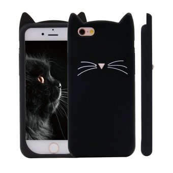 Harga 3D Black MEOW Party Cat Whiskers Soft Silicone Case for iPhone 7 Plus - intl
